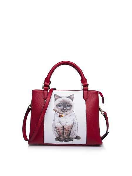 Red Sweet Cat Printed Zipper PU Top Handle