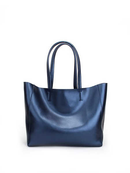 Medium Zipper Cowhide Leather Tote