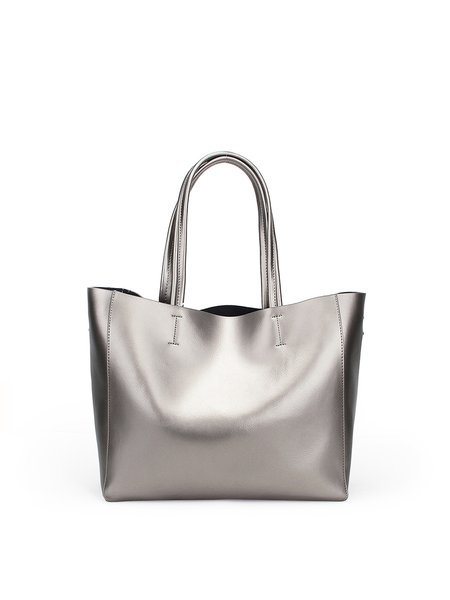 Silver Medium Cowhide Leather Casual Tote