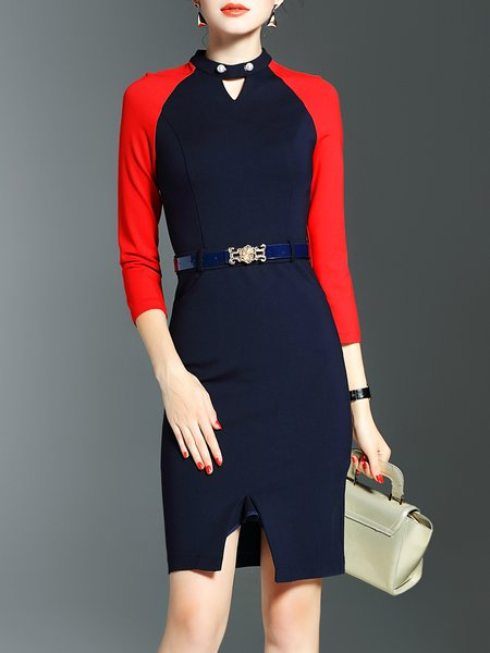 Navy Blue Color-block Plain Sheath Elegant Midi Dress