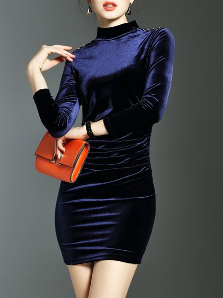 Black Polyester Elegant Turtleneck Beaded Mini Dress