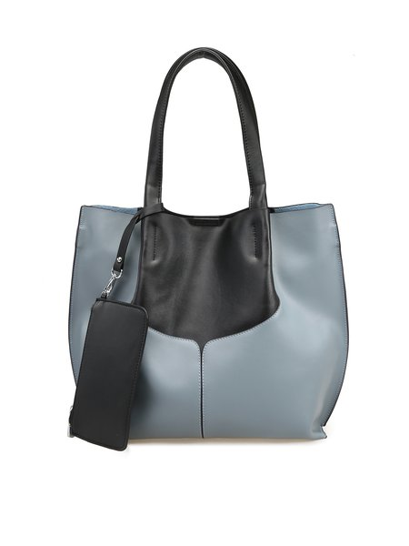 Zipper Casual Color-block Cowhide Leather Medium Tote