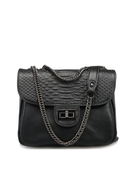 Embossed Cowhide Leather Twist Lock Casual Crossbody