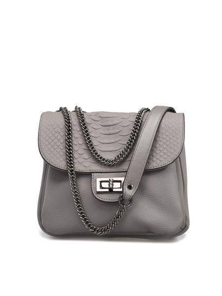 Gray Twist Lock Casual Cowhide Leather Crossbody