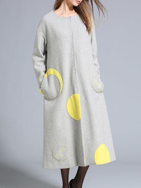 Pockets Long Sleeve Elegant Color-block Wool Blend Coat