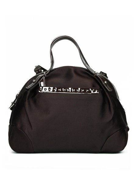 Coffee Nylon Casual Zipper Top Handle