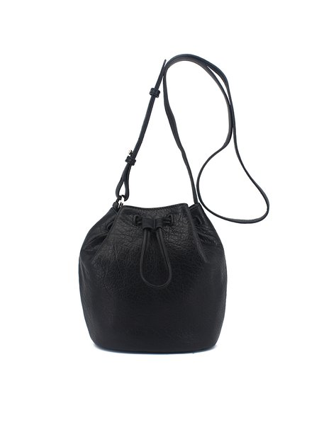 Black Plain Casual Cowhide Leather Drawstring Bucket Crossbody Bag