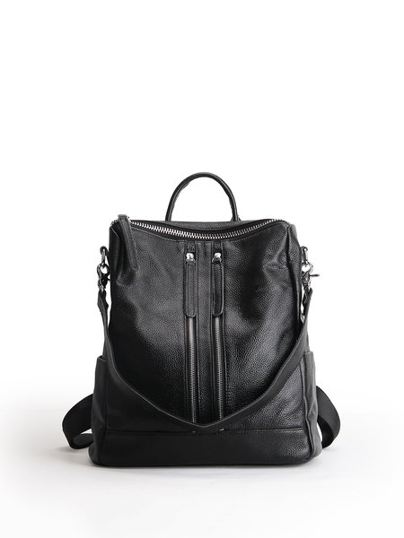 Black Zipper Solid Cowhide Leather Casual Backpack