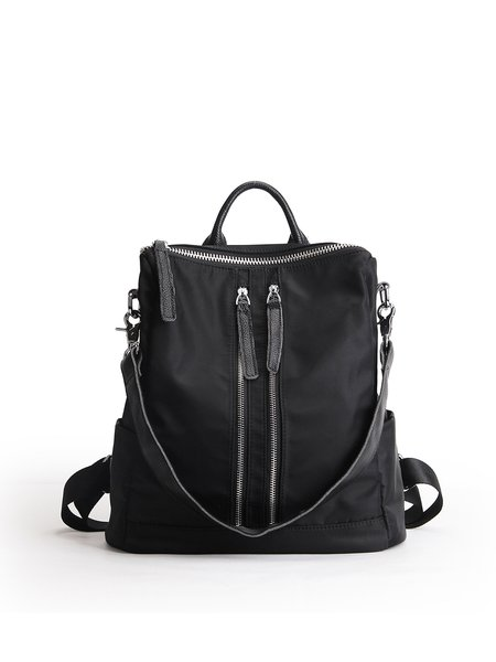 Black Casual Zipper Solid Nylon Backpack