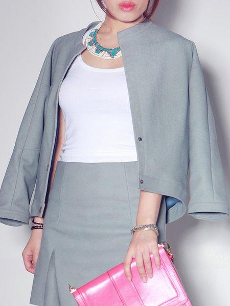 Solid Long Sleeve Casual Symmetric Coat