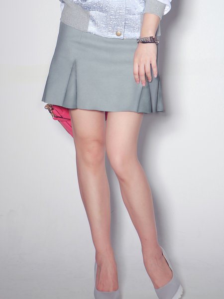 Light Gray A-line Folds Casual Solid Mini Skirt
