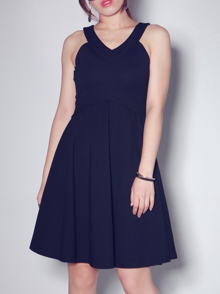 Casual A-line Sleeveless Solid Folds Midi Dress