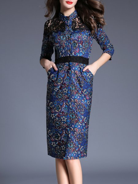 Sheath 3/4 Sleeve Vintage Floral Print Guipure Lace Midi Dress