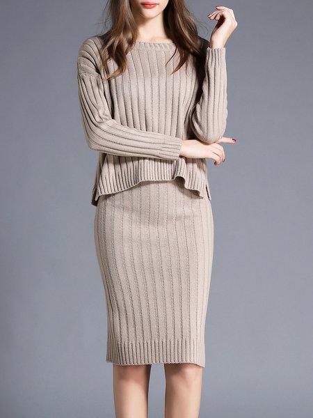 Gray Two Piece Plain Bateau/boat Neck Long Sleeve Sweater Dress