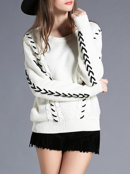 Knitted H-line Crew Neck Long Sleeve Sweater