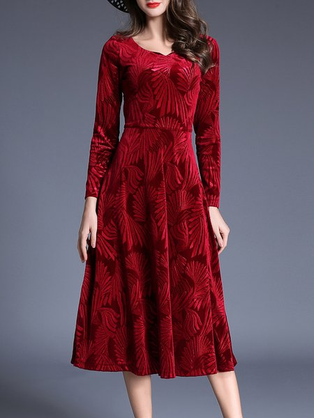 Red Floral Jacquard Elegant Midi Dress