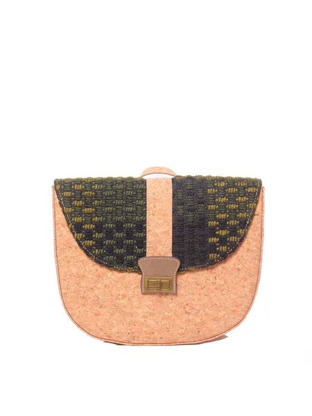 Casual Medium Twist Lock Cork Shoulder Bag