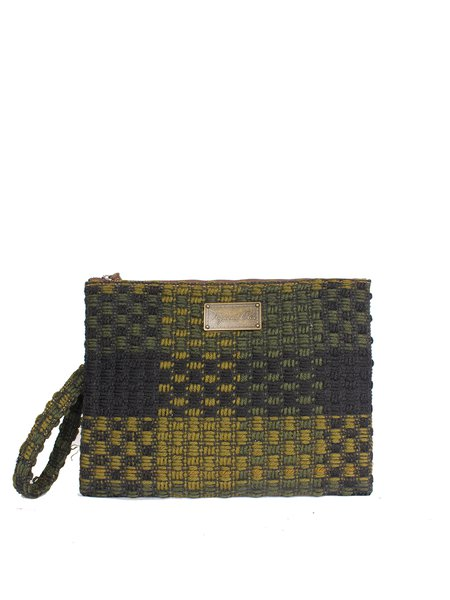 Dark Green Casual Cork Wool Zipper Clutch