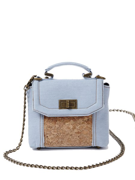 Light Blue Twist Lock Retro Shoulder Bag