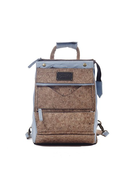 Light Blue Zipper Casual Denim Cork Backpack