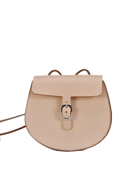 Neutrals Retro Solid Cowhide Leather Buckle Crossbody