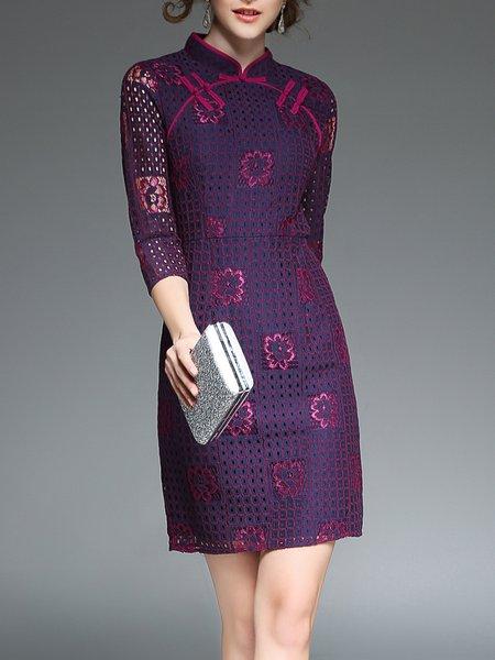 Purple Sheath Vintage Jacquard Floral Midi Dress