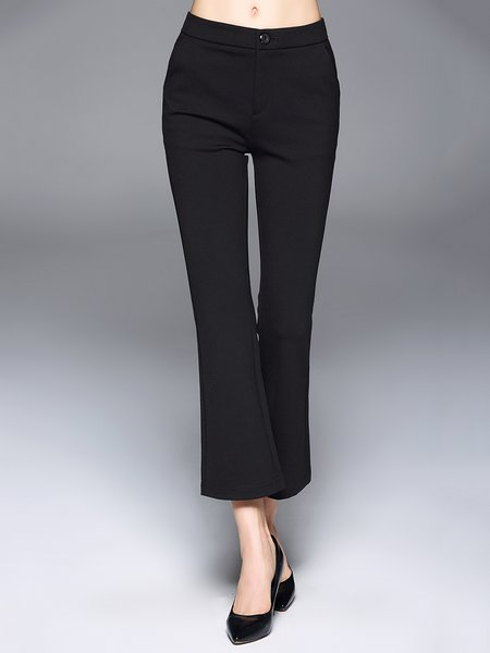 Black Solid Casual Flared Pants