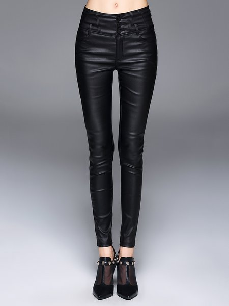 Black Solid Casual Pockets Skinny Leg Pants