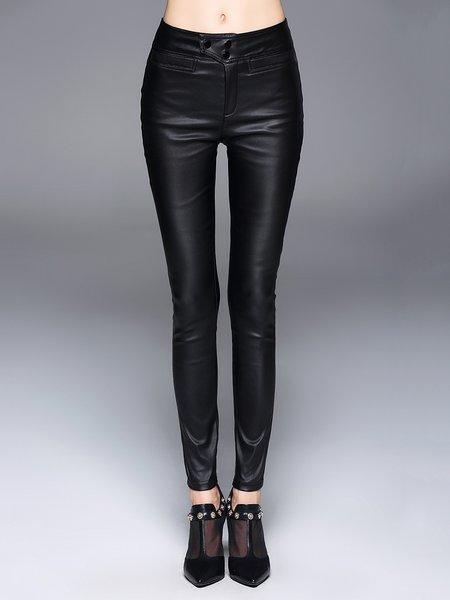 Black Plain PU Casual Skinny Leg Pants