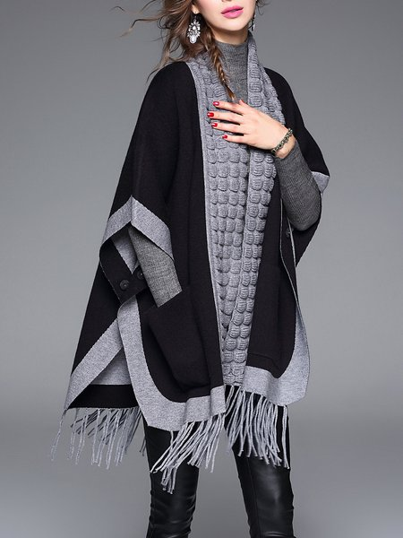 Black Fringed Knitted Plain Batwing Casual Cardigan