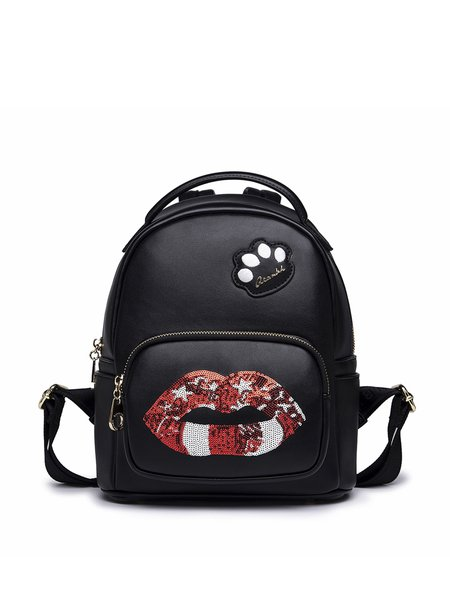 Black Zipper Lips Sequins Embellished Backpack