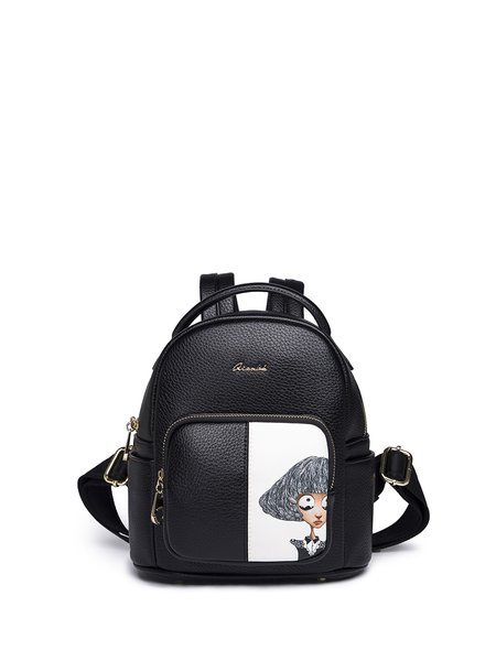 Sweet Zipper Figure Printed Backpack