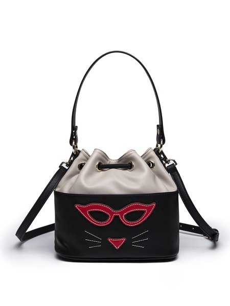 Black Sweet Split Joint Drawstring Bucket Crossbody Bag