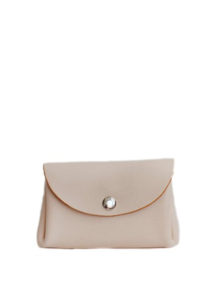 Neutrals Mini Retro Solid Cowhide Leather Clutch