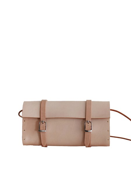 Neutrals Solid Cowhide Leather Retro Buckle Satchel