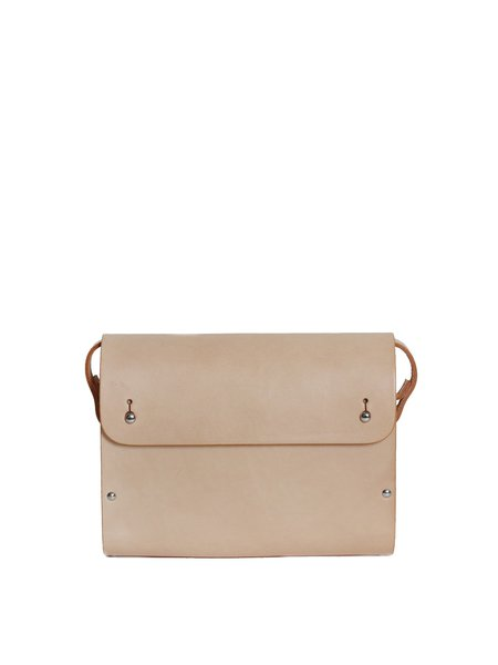 Small Solid Cowhide Leather Fold-over Flat Top Satchel