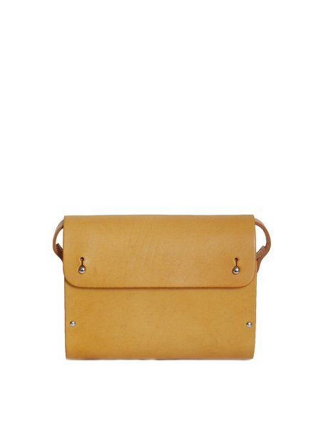 Fold-over Flat Top Small Solid Cowhide Leather Retro Satchel