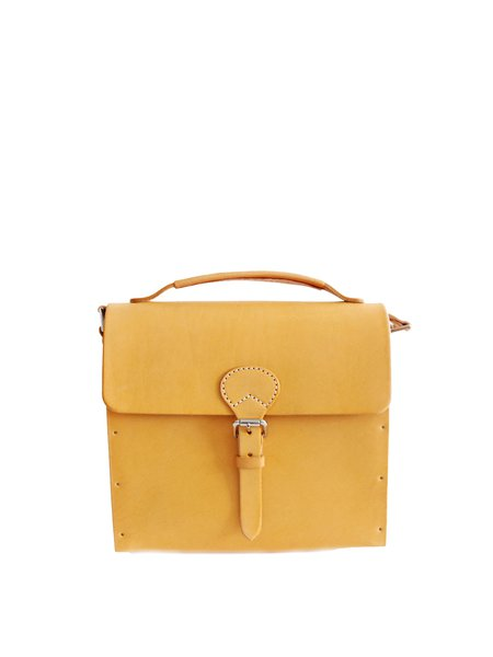 Solid Cowhide Leather Retro Buckle Small Crossbody