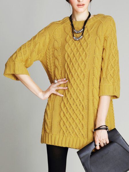 Yellow Acrylic Elegant H-line Sweater Dress