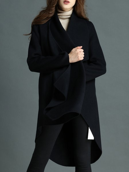Wool Blend Solid Casual Long Sleeve High Low Coat