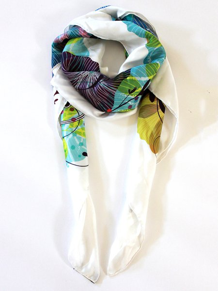 White Elegant Abstract Silk Scarf