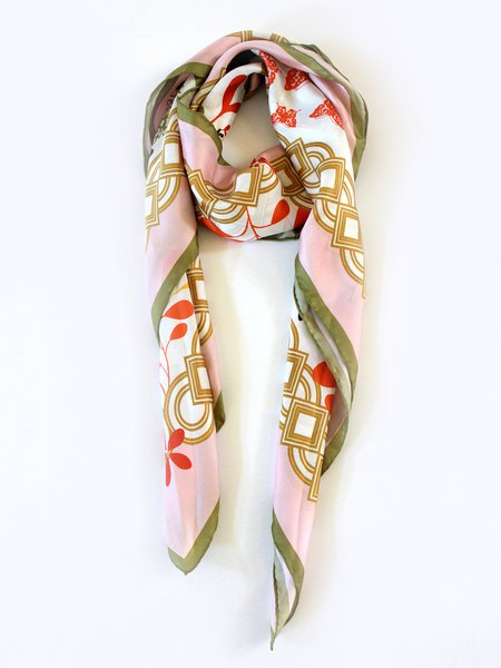 Pink Silk Elegant Abstract Scarf