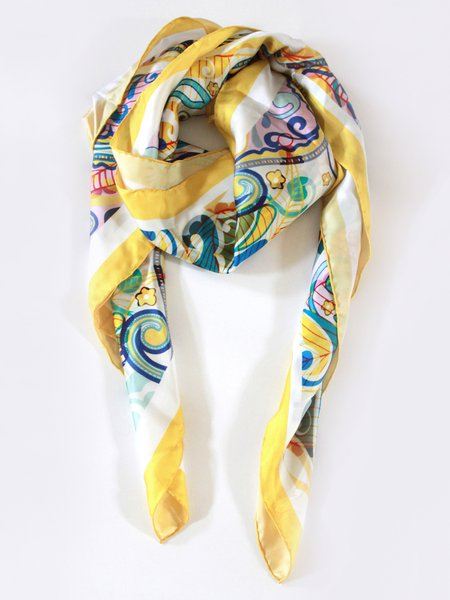 Yellow Elegant Silk Abstract Scarf