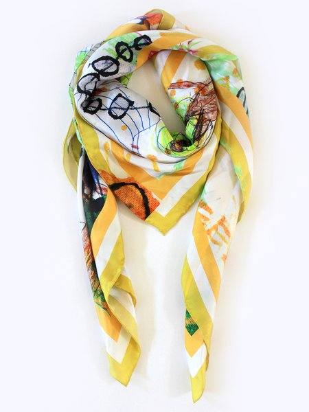 Yellow Graphic Cute Silk Scarf