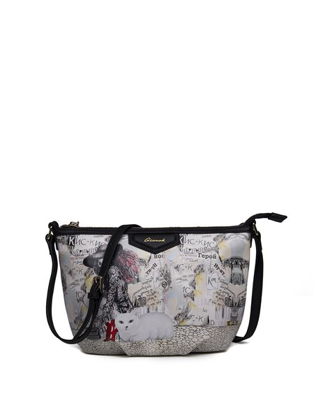 Small Statement Zipper Printed PU Satchel