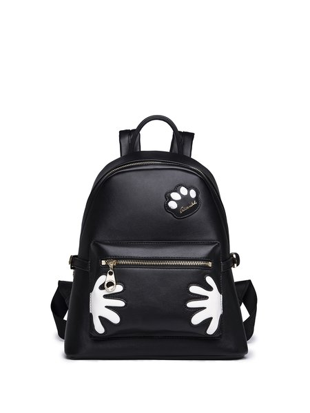 Black Statement PU Zipper Backpack