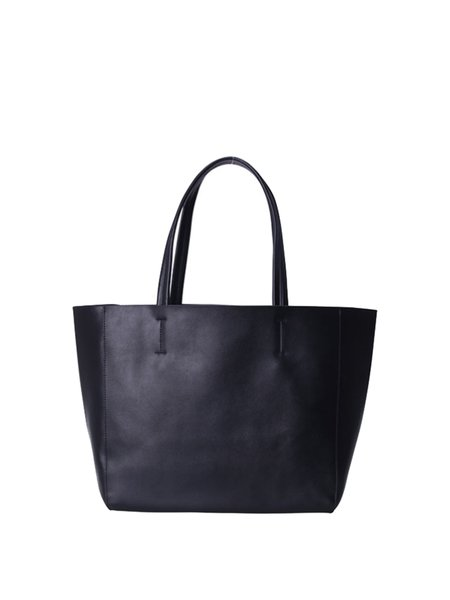 Zipper Solid Cowhide Leather Medium Tote