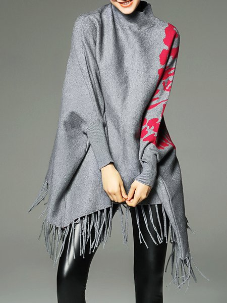 Printed Asymmetrical Turtleneck Fringed Batwing Cashmere Sweater