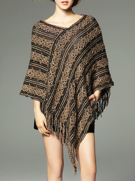 Jacquard Batwing Casual Asymmetrical Knitted Sweater
