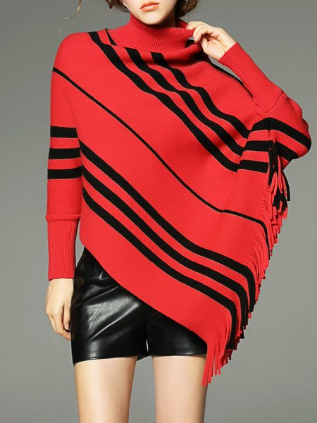 Red Stripes Turtleneck Fringed Asymmetrical Batwing Sweater ...
